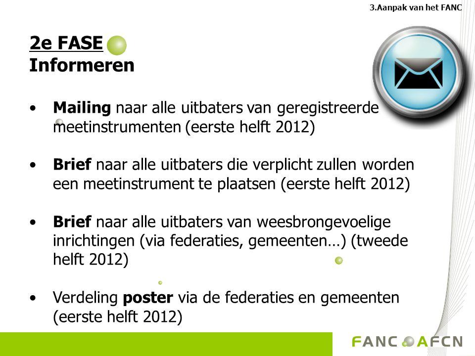 3.Aanpak van het FANC 2e FASE. Informeren. Mailing naar alle uitbaters van geregistreerde meetinstrumenten (eerste helft 2012)