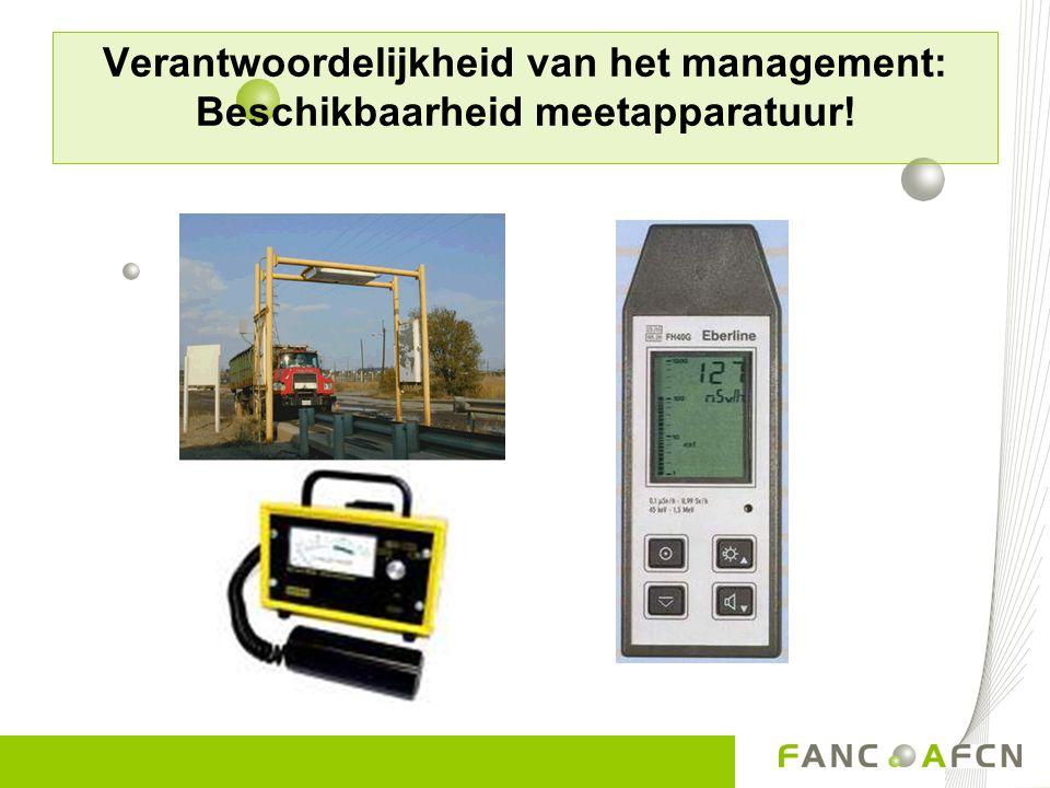 Verantwoordelijkheid van het management: Beschikbaarheid meetapparatuur!