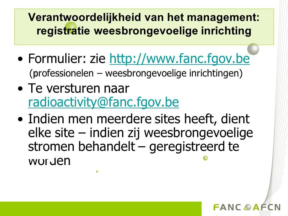 Formulier: zie http://www.fanc.fgov.be