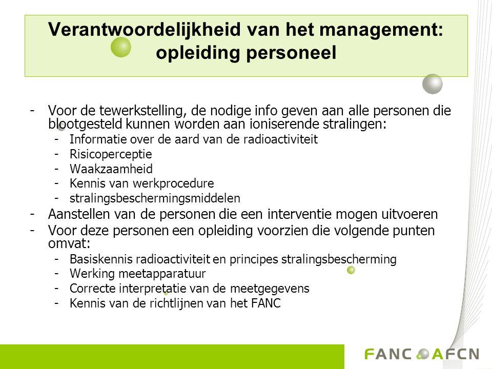 Verantwoordelijkheid van het management: opleiding personeel