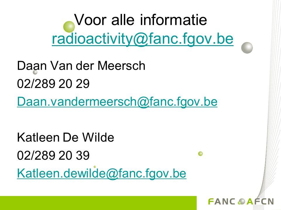 Voor alle informatie radioactivity@fanc.fgov.be