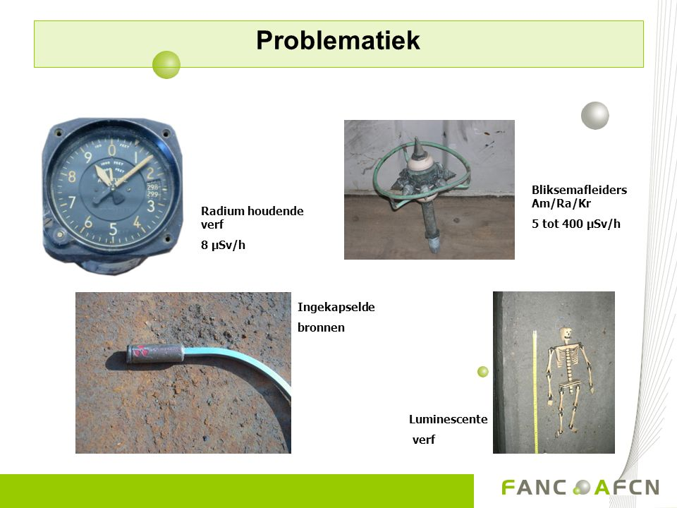 Problematiek Bliksemafleiders Am/Ra/Kr 5 tot 400 µSv/h