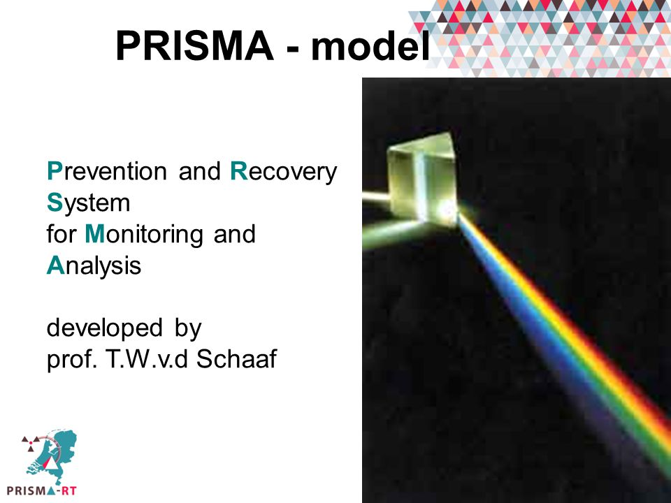 PRISMA - model Prevention and Recovery System for Monitoring and Analysis. developed by. prof. T.W.v.d Schaaf.