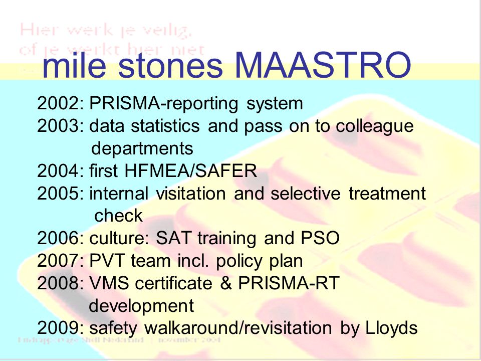 mile stones MAASTRO 2002: PRISMA-reporting system