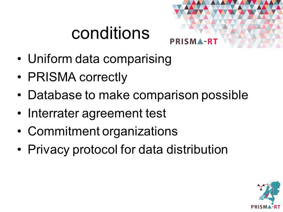 conditions Uniform data comparising PRISMA correctly