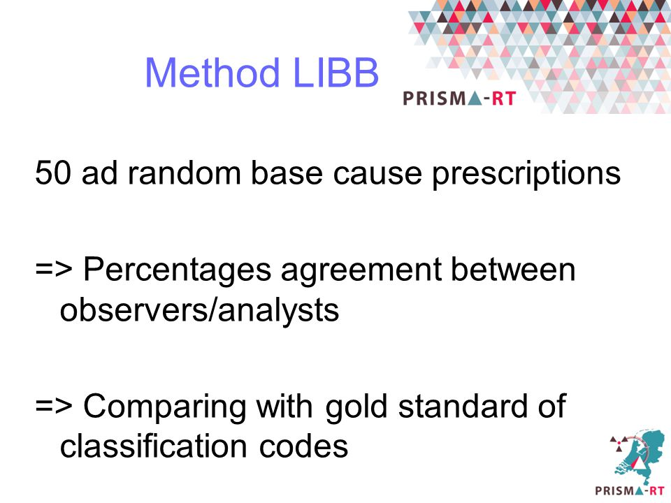 Method LIBB 50 ad random base cause prescriptions