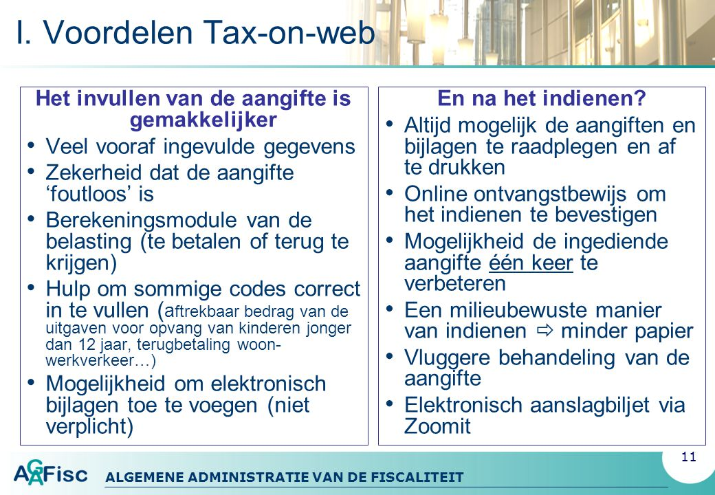 I. Voordelen Tax-on-web