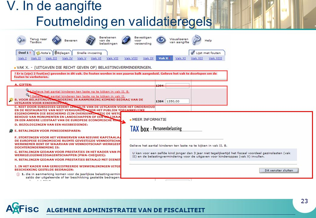 V. In de aangifte Foutmelding en validatieregels