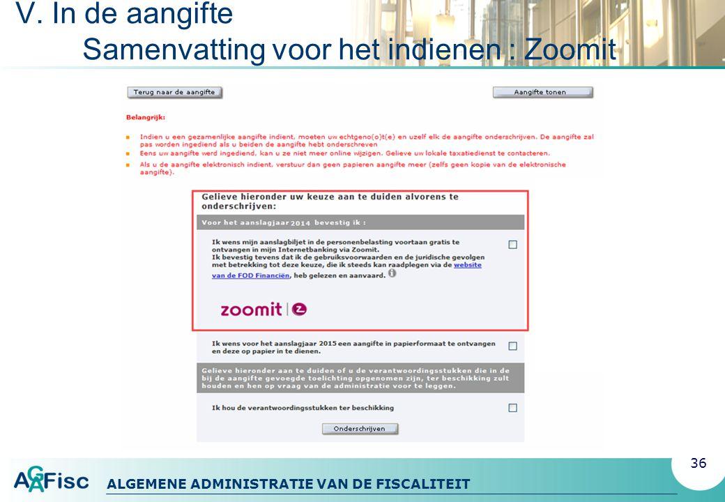 V. In de aangifte Samenvatting voor het indienen : Zoomit