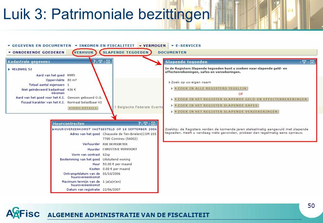 Luik 3: Patrimoniale bezittingen