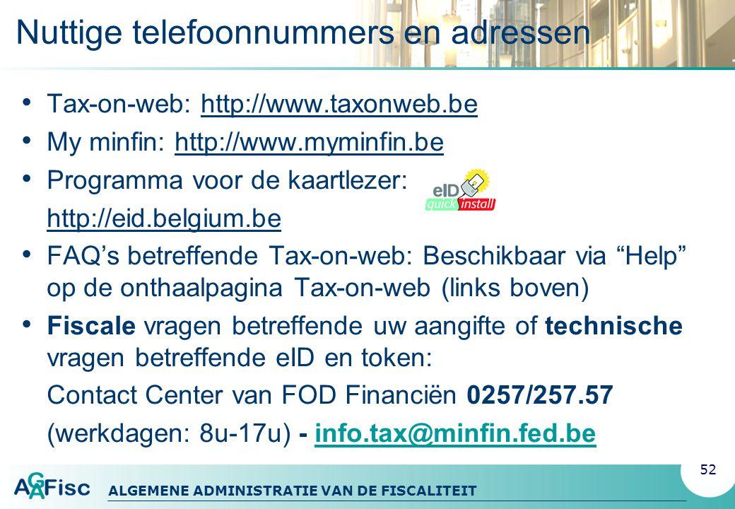 Nuttige telefoonnummers en adressen