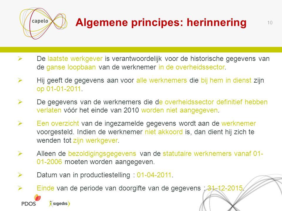 Algemene principes: herinnering