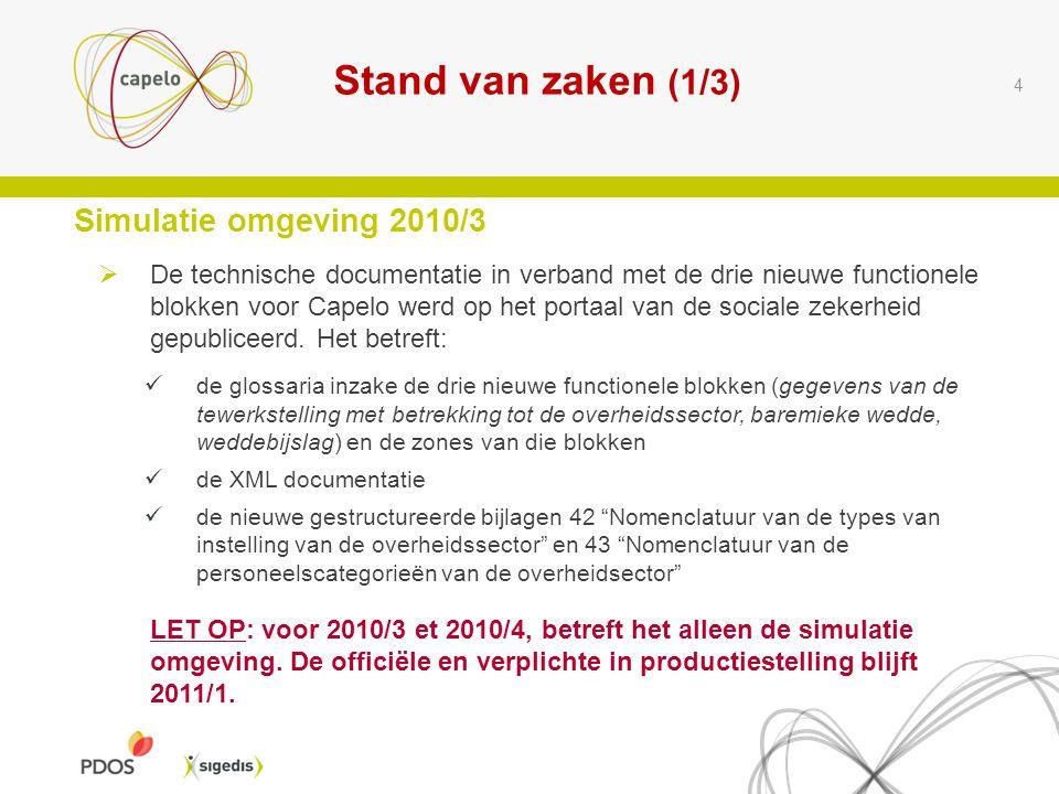 Stand van zaken (1/3) Simulatie omgeving 2010/3
