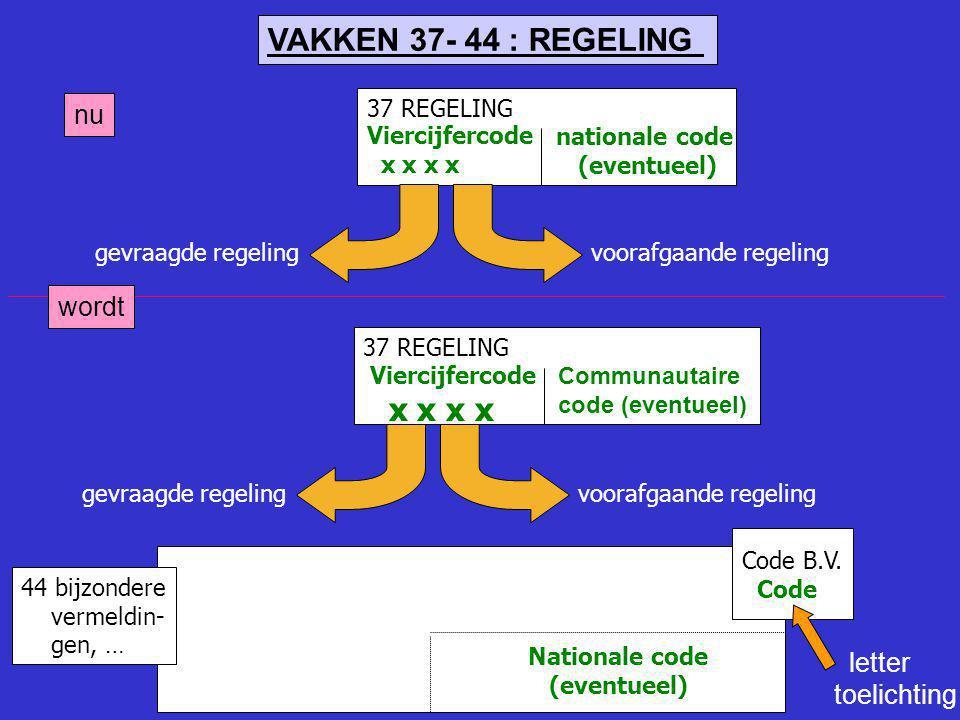 VAKKEN 37- 44 : REGELING x x x x nu wordt letter toelichting