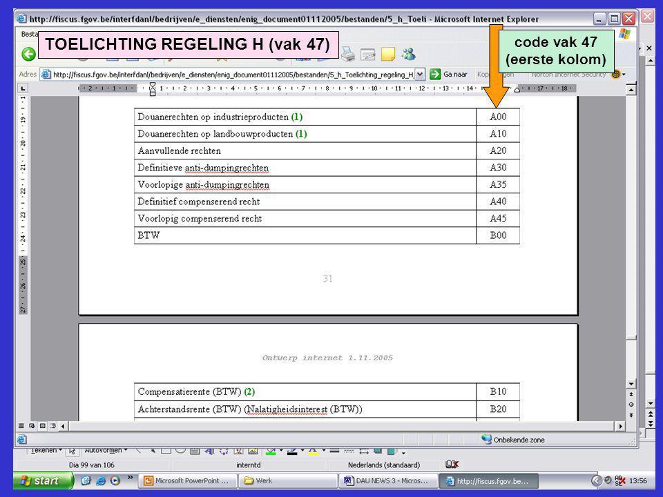 TOELICHTING REGELING H (vak 47)