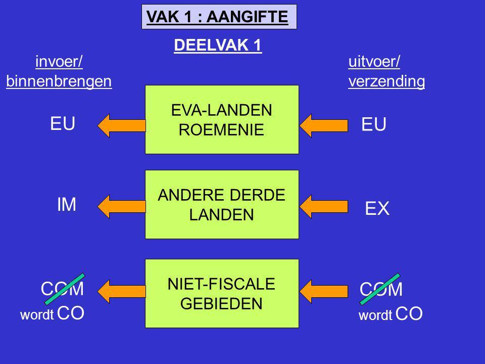 EU EU IM EX COM COM VAK 1 : AANGIFTE DEELVAK 1 invoer/ binnenbrengen