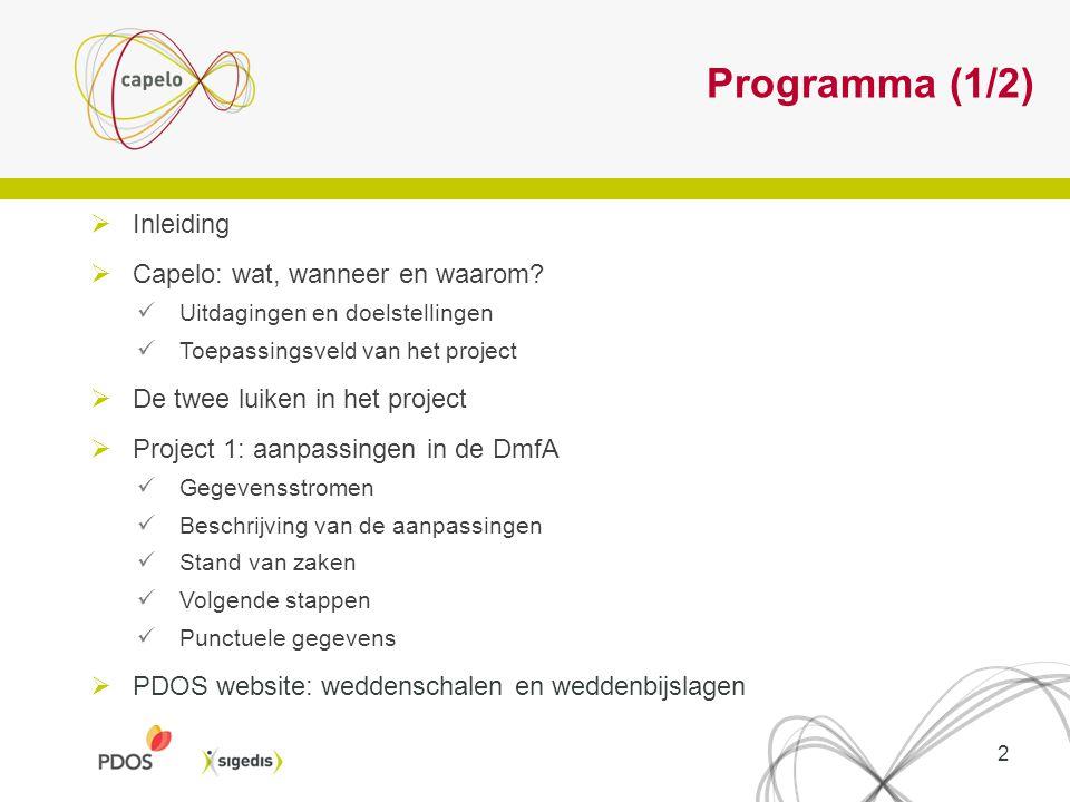 Programma (1/2) Inleiding Capelo: wat, wanneer en waarom