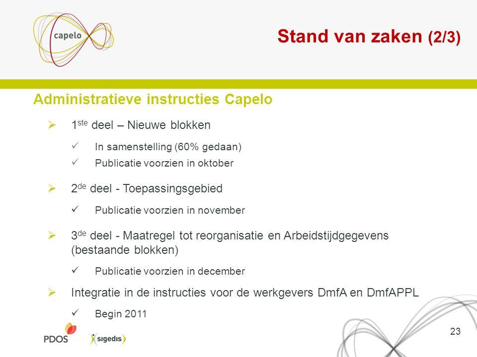Stand van zaken (2/3) Administratieve instructies Capelo