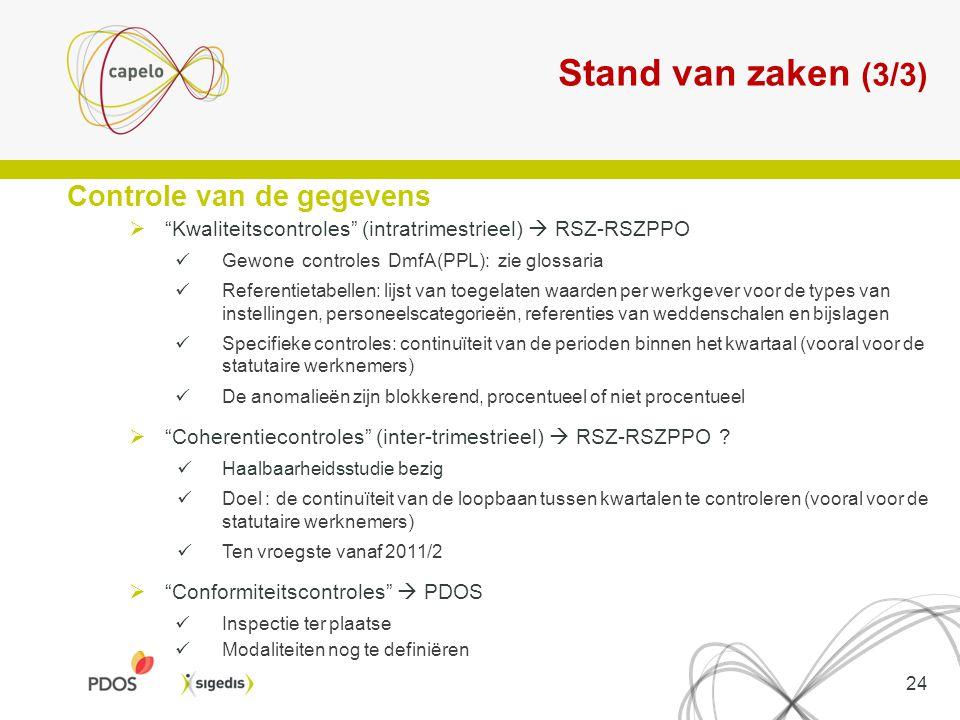 Stand van zaken (3/3) Controle van de gegevens