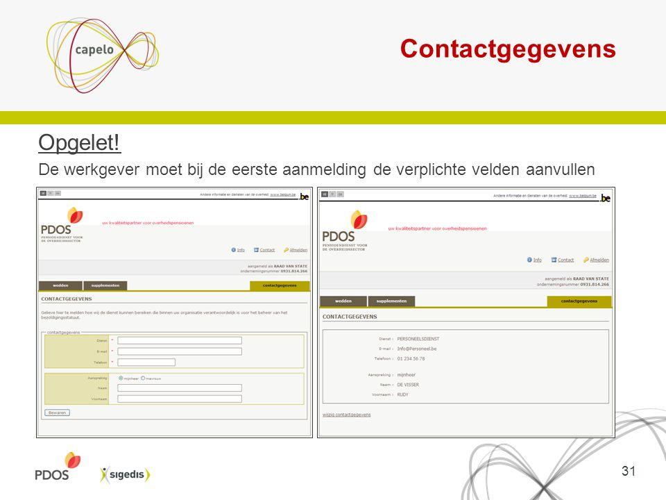 Contactgegevens Opgelet!