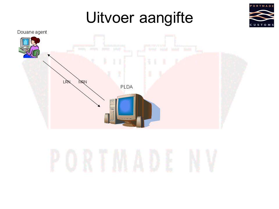 Uitvoer aangifte Douane agent LRN MRN PLDA