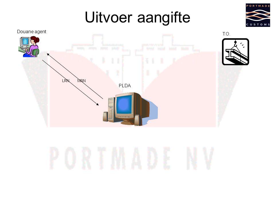 Uitvoer aangifte Douane agent T.O. LRN MRN PLDA