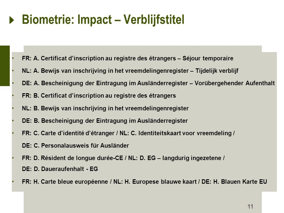 Biometrie: Impact – Verblijfstitel