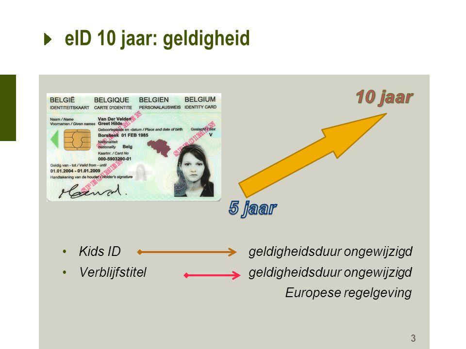 eID 10 jaar: geldigheid 10 jaar 5 jaar