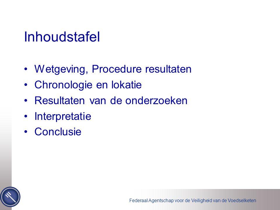 Inhoudstafel Wetgeving, Procedure resultaten Chronologie en lokatie