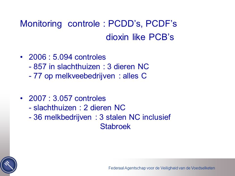 Monitoring controle : PCDD's, PCDF's dioxin like PCB's
