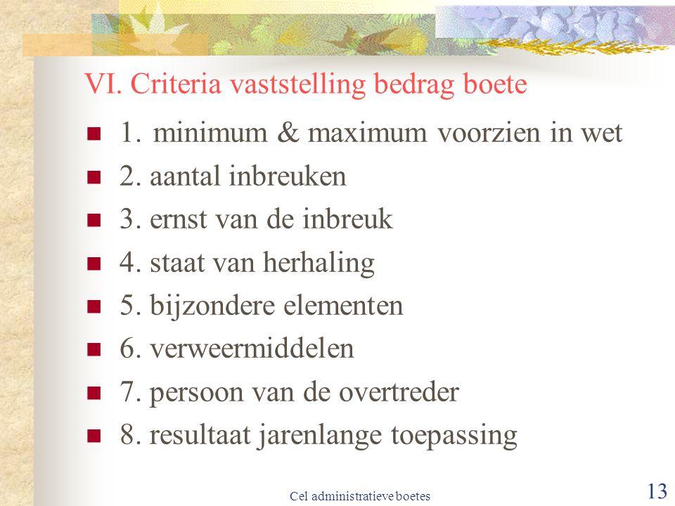VI. Criteria vaststelling bedrag boete