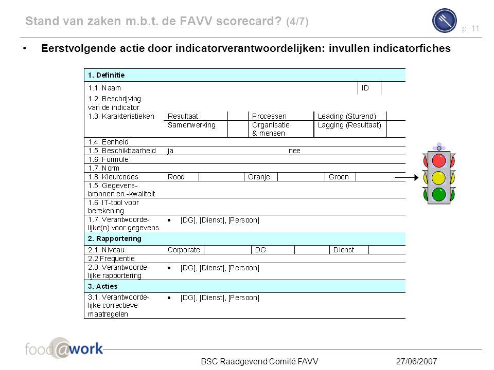Stand van zaken m.b.t. de FAVV scorecard (4/7)