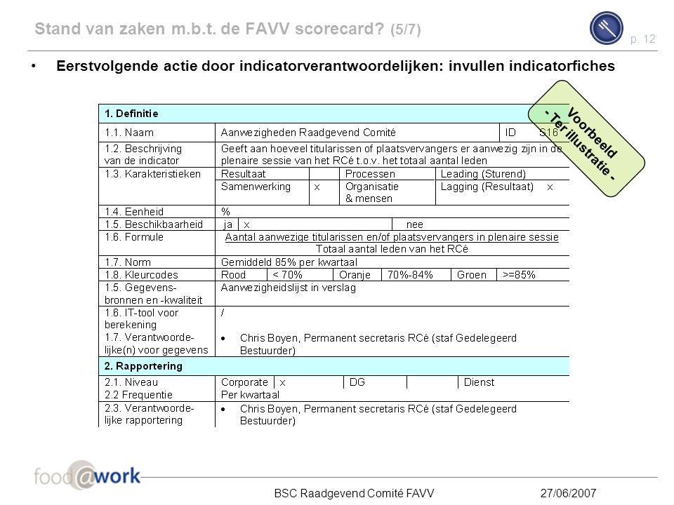 Stand van zaken m.b.t. de FAVV scorecard (5/7)