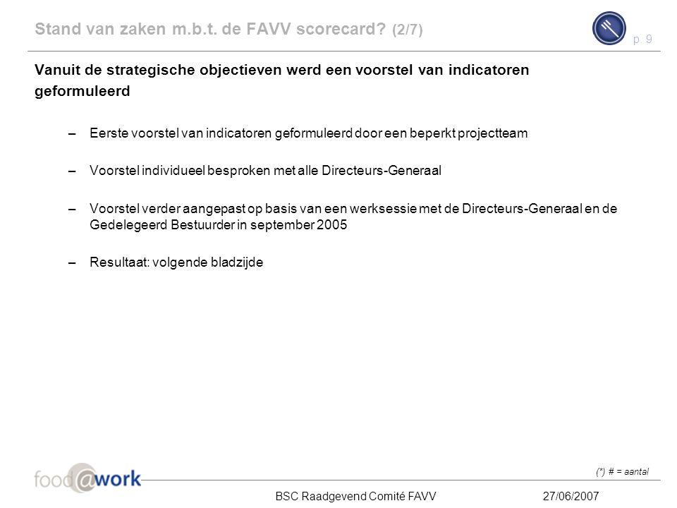 Stand van zaken m.b.t. de FAVV scorecard (2/7)