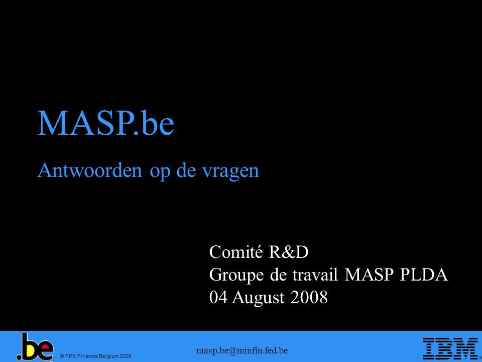 MASP.be Antwoorden op de vragen Comité R&D Groupe de travail MASP PLDA