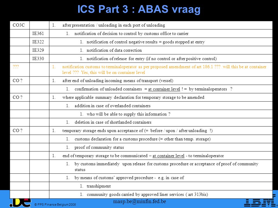 ICS Part 3 : ABAS vraag masp.be@minfin.fed.be CO3C