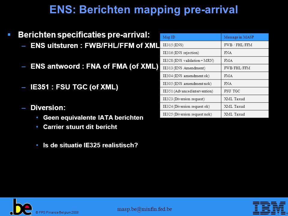 ENS: Berichten mapping pre-arrival