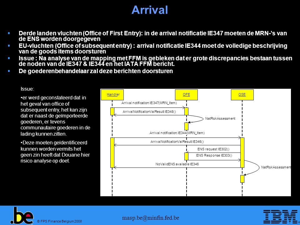 Arrival Derde landen vluchten (Office of First Entry): in de arrival notificatie IE347 moeten de MRN-'s van de ENS worden doorgegeven.