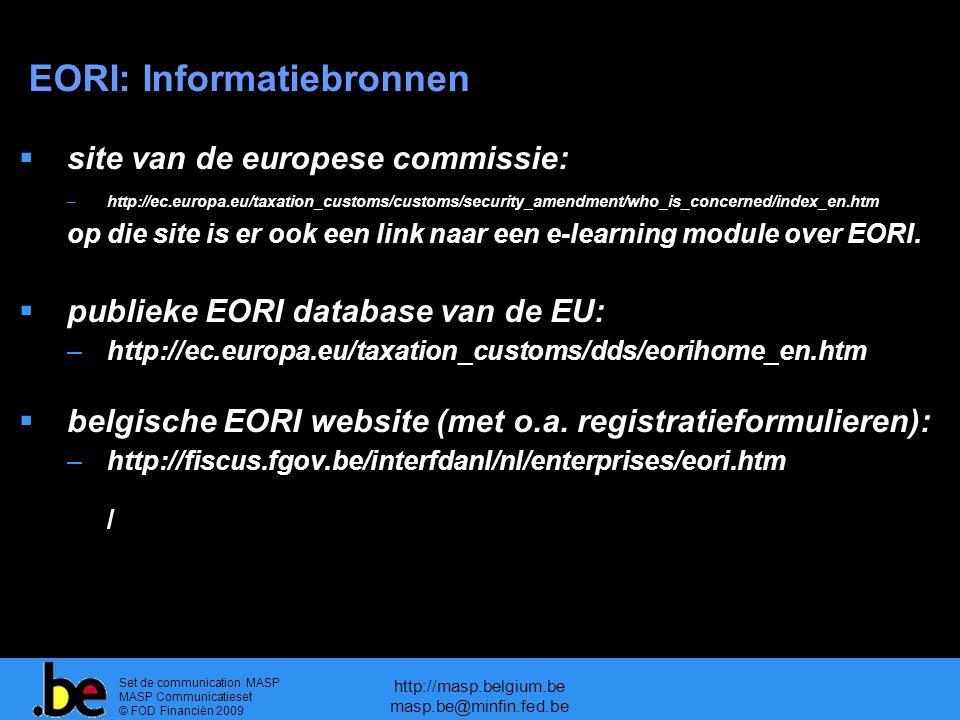 EORI: Informatiebronnen