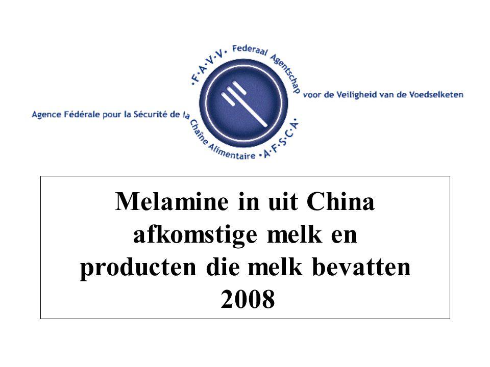 Melamine in uit China afkomstige melk en producten die melk bevatten 2008