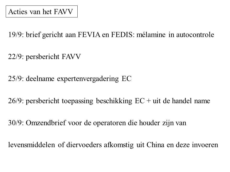 Acties van het FAVV 19/9: brief gericht aan FEVIA en FEDIS: mélamine in autocontrole. 22/9: persbericht FAVV.