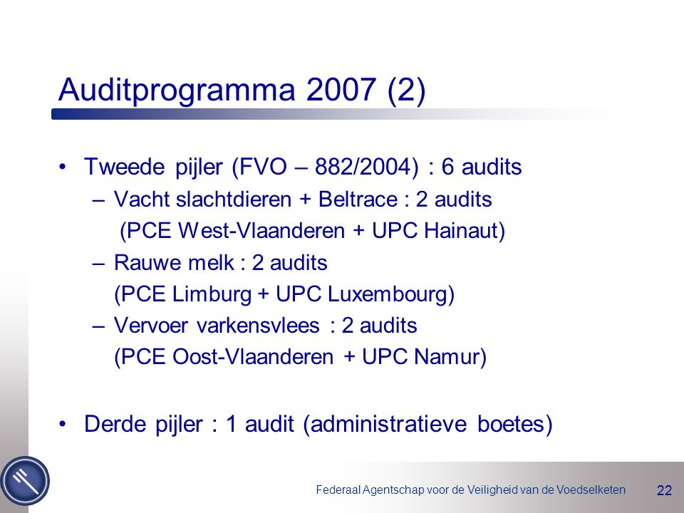 Auditprogramma 2007 (2) Tweede pijler (FVO – 882/2004) : 6 audits