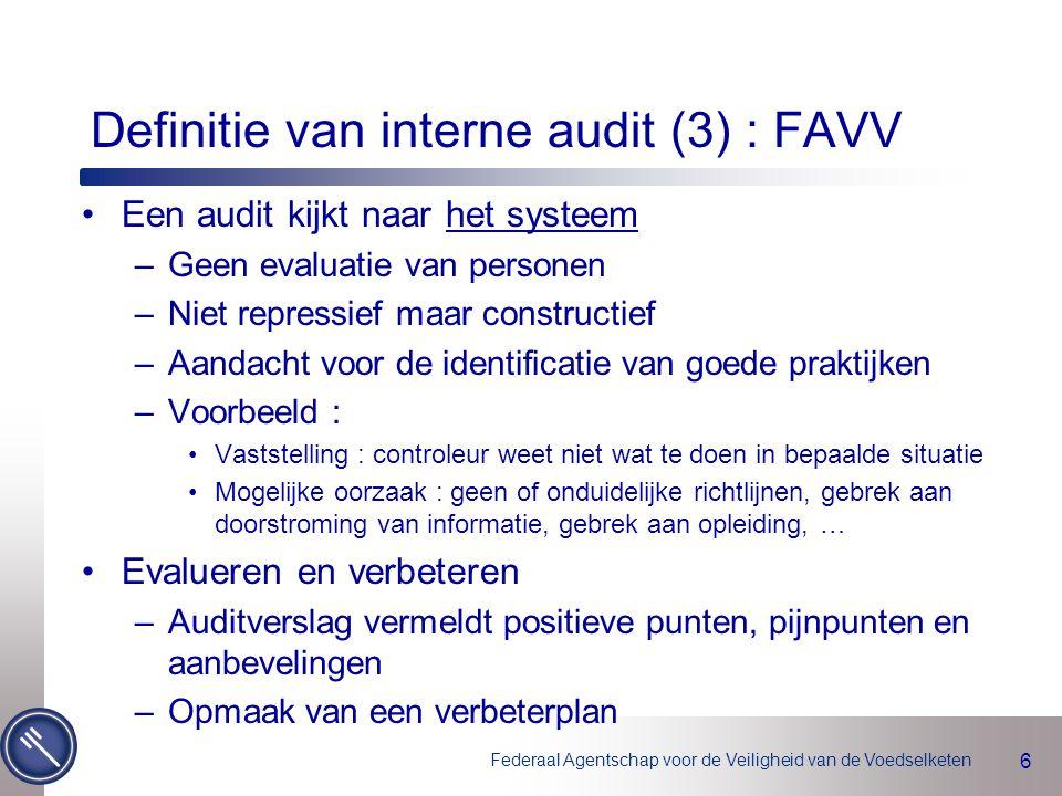 Definitie van interne audit (3) : FAVV