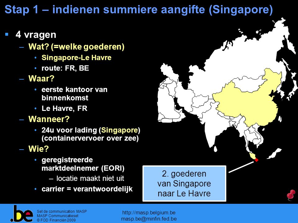 Stap 1 – indienen summiere aangifte (Singapore)