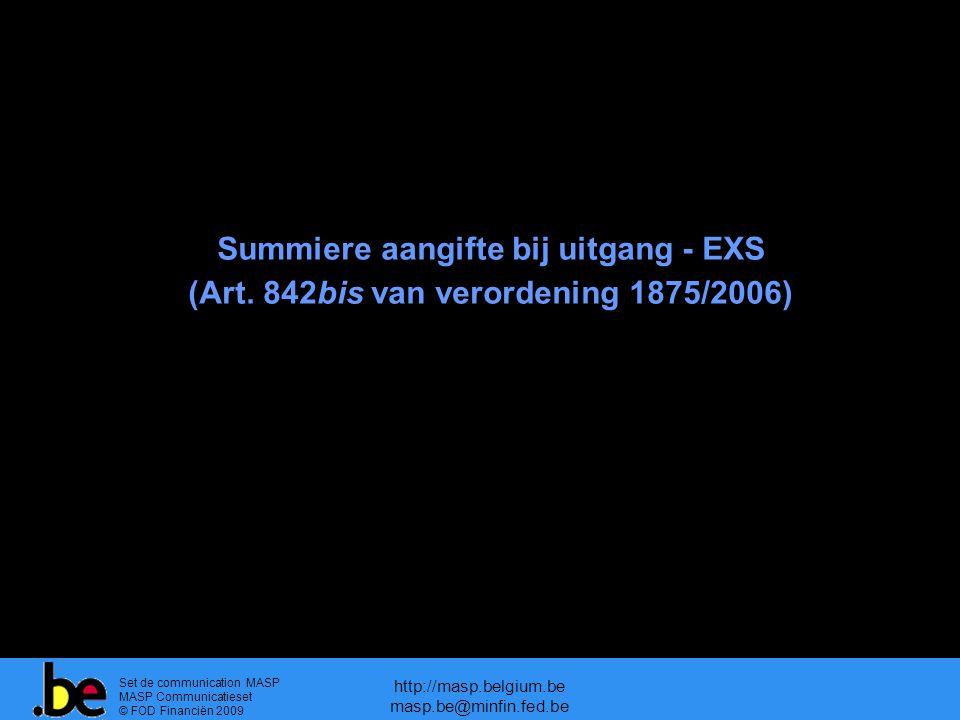 Summiere aangifte bij uitgang - EXS