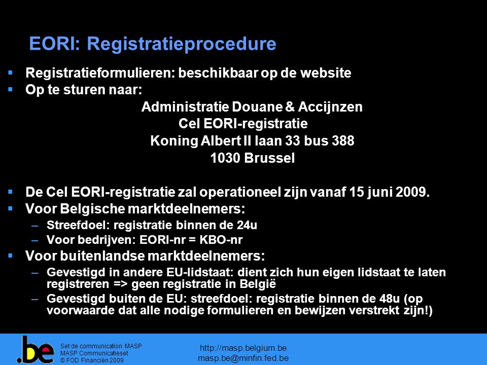 EORI: Registratieprocedure