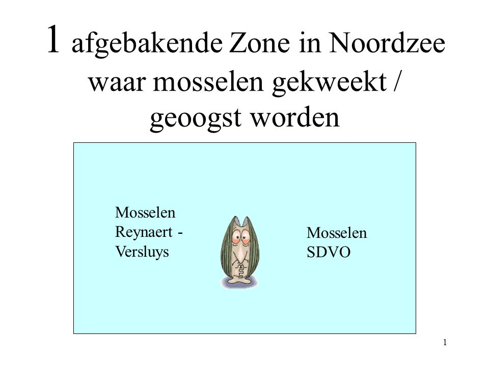 1 afgebakende Zone in Noordzee waar mosselen gekweekt / geoogst worden