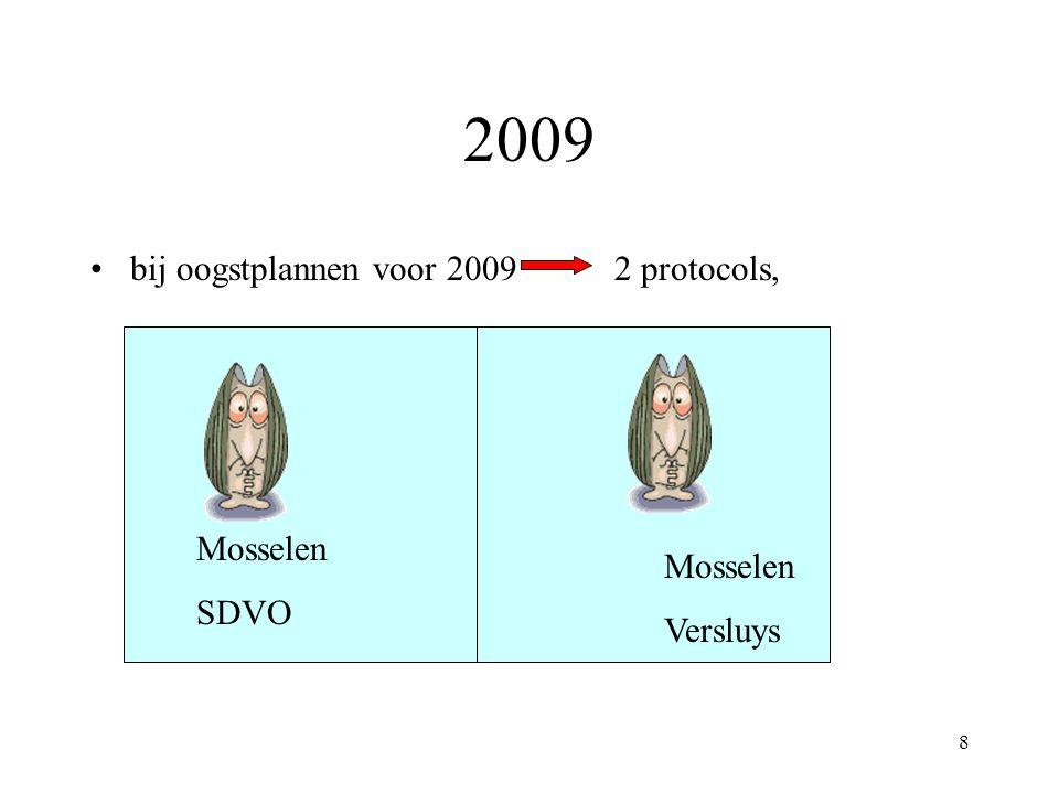 2009 bij oogstplannen voor 2009 2 protocols, Mosselen SDVO Mosselen