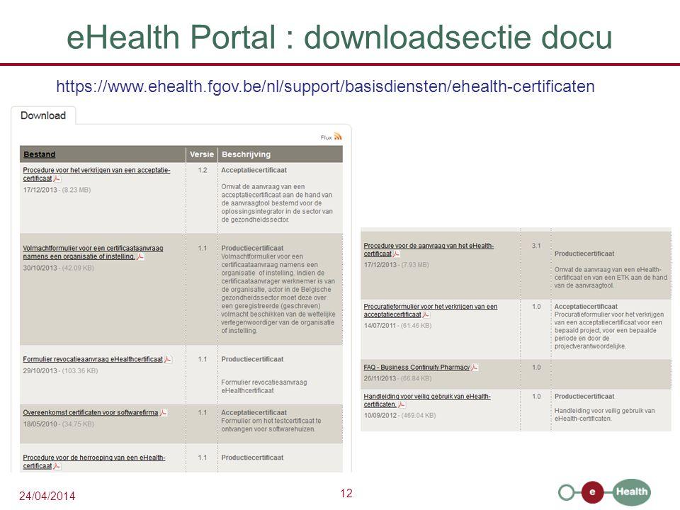 eHealth Portal : downloadsectie docu