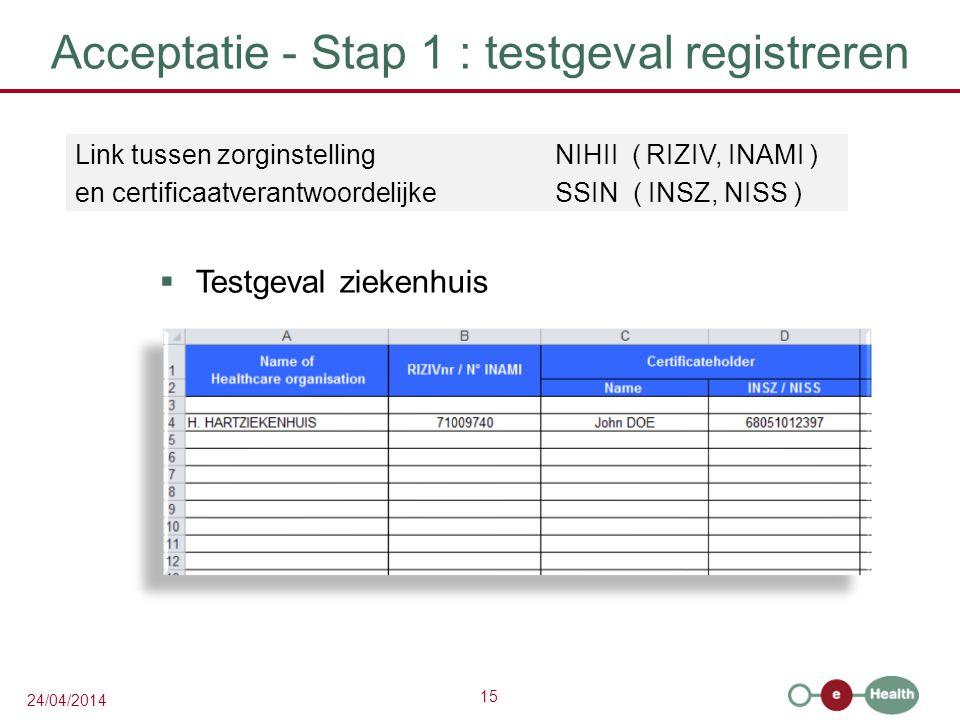 Acceptatie - Stap 1 : testgeval registreren